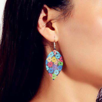 Fashion Color Alloy Openwork Leaf Pendant Earrings