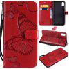 Big Butterfly Embossing PU Phone Case for iPhone Xr - RED