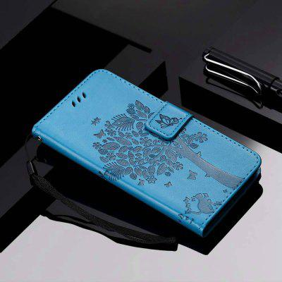 Cat and Tree Embossing PU Phone Case for Xiaomi Redmi Note 8 Pro