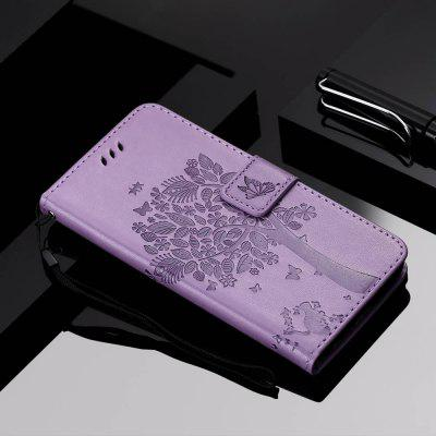Cat and Tree Embossing PU Phone Case for Xiaomi Mi CC9 / A3 Pro