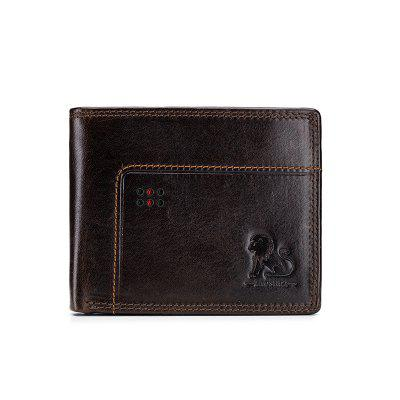 Old Lion Leather Men'S Wallet Anti-Theft Brush Change Wallet Double Bill Wallet