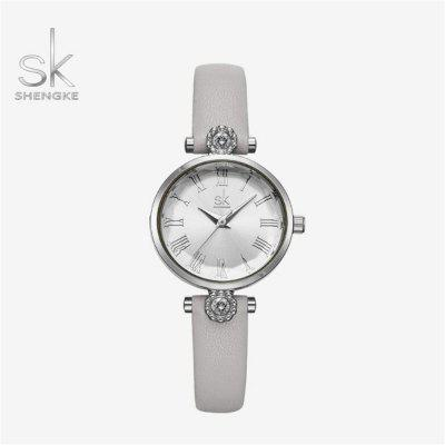 Shengke K9009 Luxus női karóra bőr szíj Diamond Watch