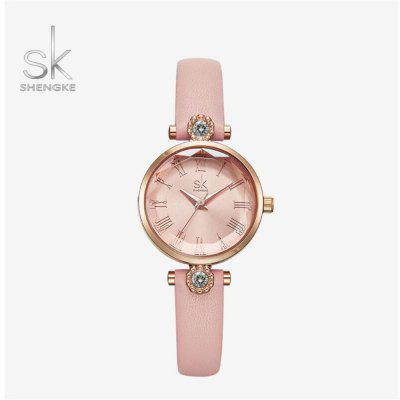 Shengke K9009 Dames van de luxe horloge lederen band Diamond Watch