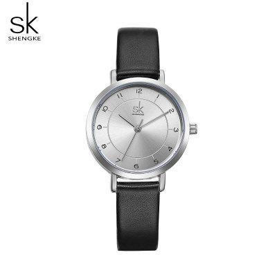 Shengke K8008 Ladies Casual Watch Small Dial Leather Strap Quartz Watch