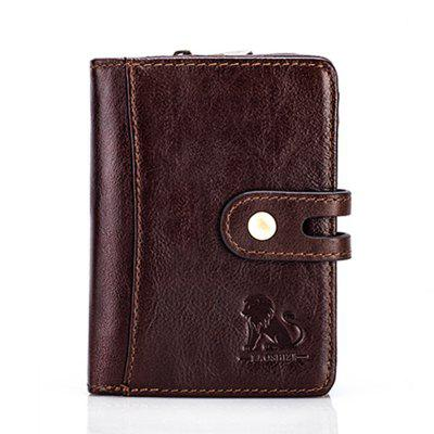 Old Lion Wallet First Layer Cowhide Anti-Theft RFID Coin Holder Coin Purse