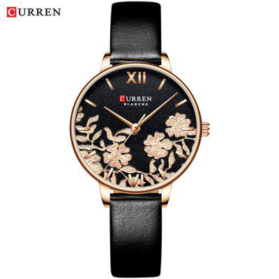 CURREN 9065 Ladies Simple Leather Casual Vodotěsný Small Dial Pattern hodinky