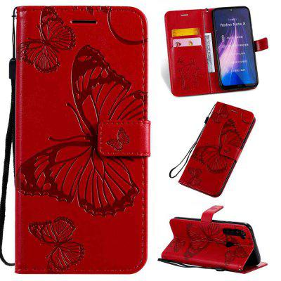 Butterfly Embossing PU Phone Case voor Xiaomi redmi Note 8