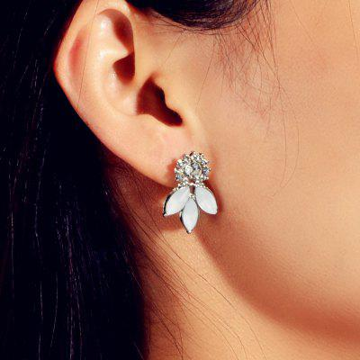 Fashion Silver White Diamond Flower Stud Earrings