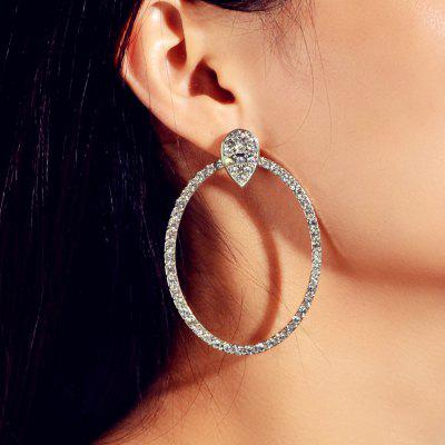 Fashion Silver Full Diamond Large Geometric Earrings