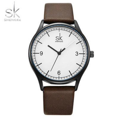 Shengke K8028 Unisex Watch Ladies Simple Leather Strap Waterproof Watch