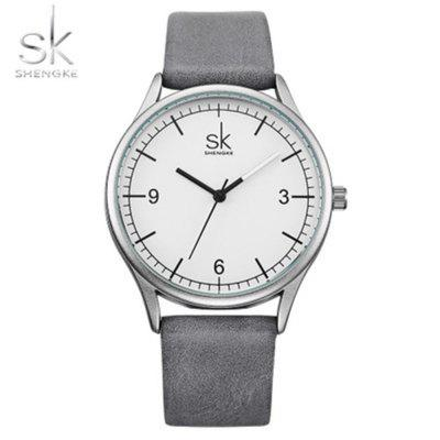 Shengke K8028 Unisex Horloge Dames Simple Leather Strap waterdicht horloge