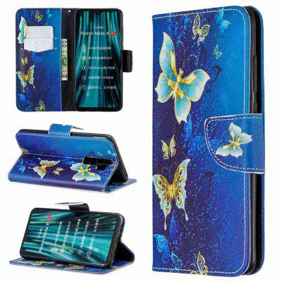 Golden Butterfly Painted PU Phone Case for Xiaomi Redmi Note 8 Pro