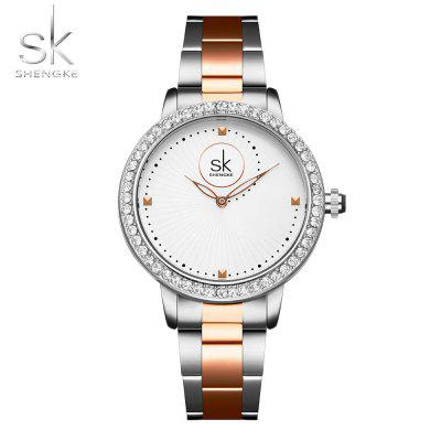 Shengke K0111L Fashion Ladies Gold stalen band Diamond Watch
