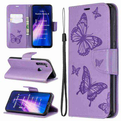 Two Butterfly Embossing PU Phone Case for Xiaomi Redmi Note 8