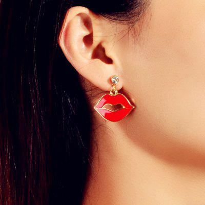 Fashion Red Drop Oil Big Mouth Drop Earrings