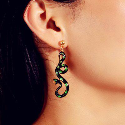 Fashionable Drop Ink Green Snake Drop Earrings