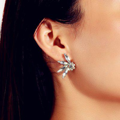 Fashion Silver Flower Leaf Drop Earrings