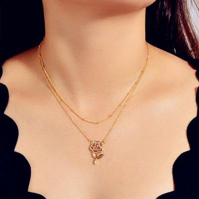 Colar Pingente Duplo Rose Moda Ouro oco diamante de flash