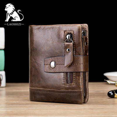 Old Lion Head Layer Cowhide Anti-Theft Credit Card Bag Zipper Bag Wallet