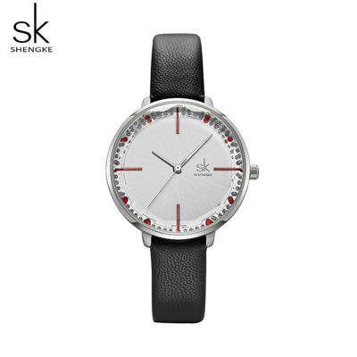 Shengke K8048 Ladies Quartz Watch with Diamond Dial and Angular Mirror Face