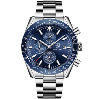 BENYAR 5140 Heren Steel Band Sports waterdicht kwarts horloge