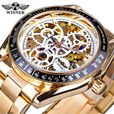 Winner GMT1080 Hollow Gear Dial Men'S Automatic Mechanical Watch