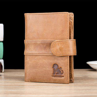 Leather Men'S Wallet Money Coin Purse Anti-Theft Credit Card Bag Wallet