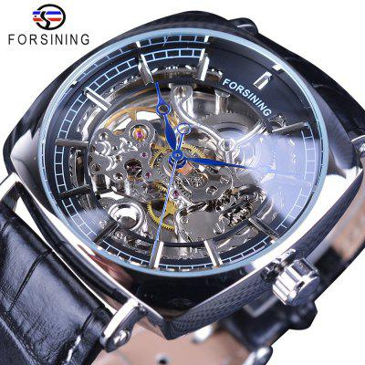 FORSINING GMT1076-6 Men'S Leather Mechanical Watch with Square Dial