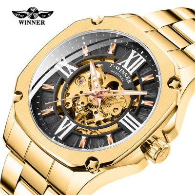 Winner GMT1159 Stylish Steel Band Waterproof Men's Mechanical Watch