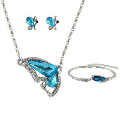 Mode papillon bleu Flash Diamond collier boucles d'oreilles Bracelet