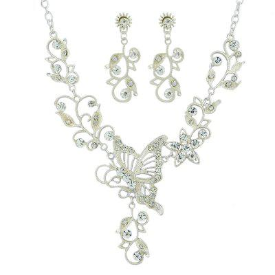 Fashion Silver Butterfly Love Flower Hollow Necklace Earring Set