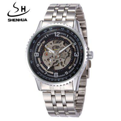 Shenhua 9500 Fashion Heren Steel Band Hollow mechanische horloge