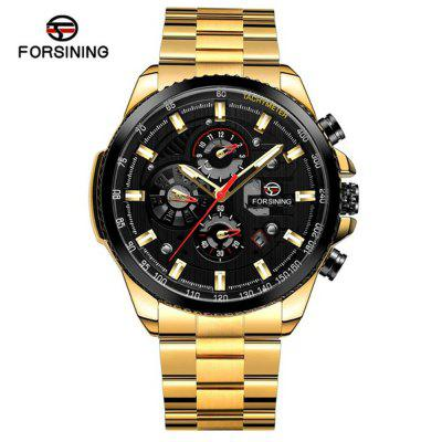 Forsining428 Waterproof Calendar Multifunctional Steel Band Mechanical Watch