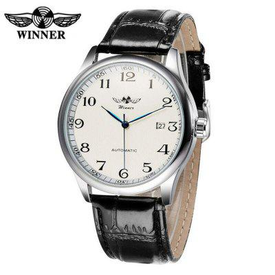 Winnaar A458 Classic Leather Strap Calendar mechanische horloge