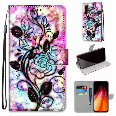 Pink Flower Iron Tower Bridge Painting PU Phone Case for Xiaomi Redmi Note 8