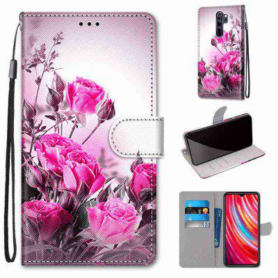 Pink Flower Iron Tower Bridge Painting PU Phone Case for Xiaomi Redmi Note 8 Pro