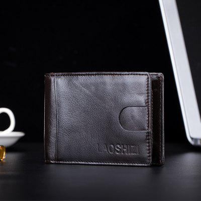 Men'S First Layer Cowhide Wallet Money Coin Purse Anti-Theft Credit Card Wallet
