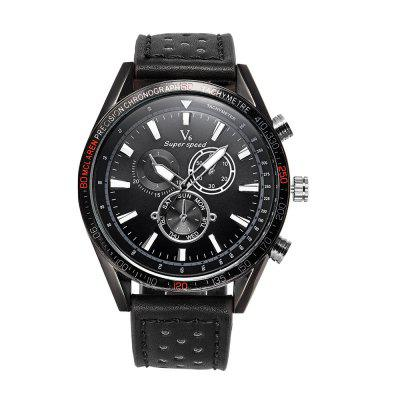 V6-0270 Men'S Leather Strap Outdoor Sports Quartz Watch