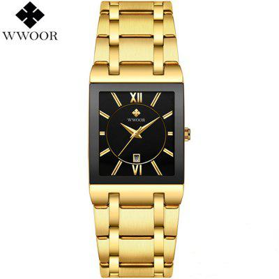 WWOOR 8858 Men's Waterproof Quartz Watch with Square Dial