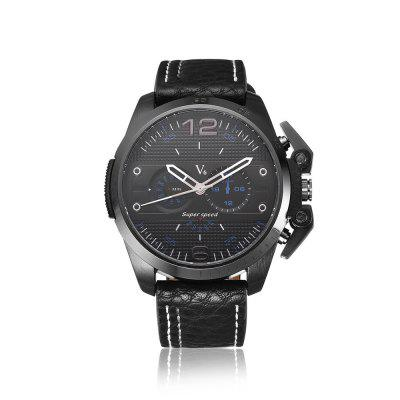 V6-V0296 de Mannen Leather Strap Sport quartz horloge