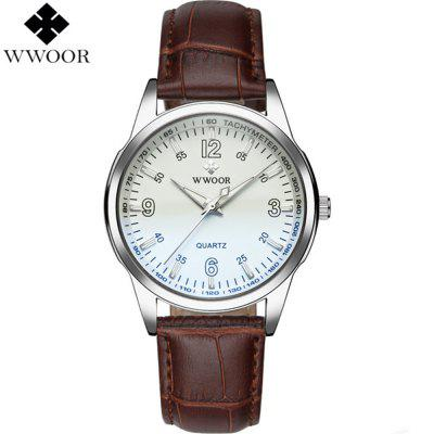 WWOOR 8861 Waterproof Luminous Quartz Watch with Leather Strap
