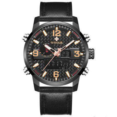 WWOOR 8859 Multi-Function Dual Movement Grote Dial quartz horloge