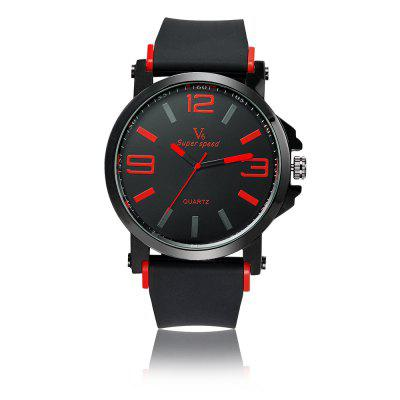 V6-V0195 Men'S Large Digital Dial Silicone Strap Quartz Watch