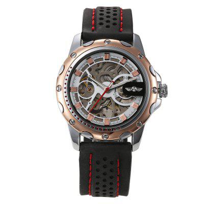 Winner A531 Men'S Silicone Strap Luminous Hollow Mechanical Watch
