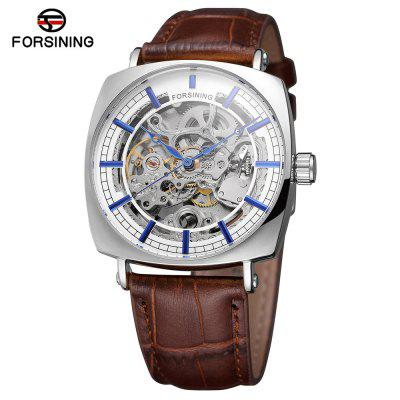 Forsining TM242 Leather Mechanical Watch with Square Dial
