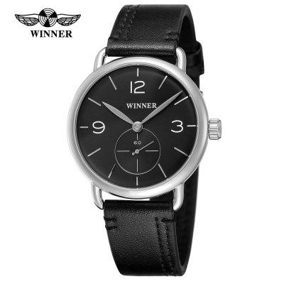Winner 276G Waterproof Small Seconds Men'S Leather Strap Mechanical Watch