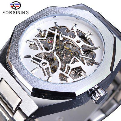 Forsining TM344 Men'S Business Stainless Steel Hollow Automatic Mechanical Watch