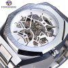 Forsining TM344 Men'S Business Stainless Steel Hollow Automatic Mechanical Watch - SILVER