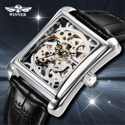 Winner WIN18 Men'S Fashion Casual Square Hollow Manual Mechanical Watch