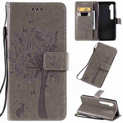 Cat and Tree Embossing PU Phone Case for Xiaomi CC9 Pro / Note10 / Note10 Pro